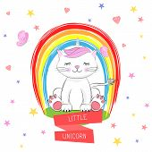 Cute Kitty And Inscription Little Unicorn. Hand Drawn Valentines Day Greeting Card With Charming Cat poster
