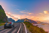 Car On Winding Country Road In Norway, Europe, Scandinavia. Auto Travel On Sunset. Blue Sky With Clo t-shirt