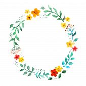 Floral Circle Wreath With Cute Flowers. Watercolor Hand Painted Border For Greeting Card poster