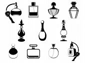 stock photo of perfume bottles  - vector illustration of isolated perfume bottles collection - JPG