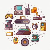 Vintage Technology, Things And Objects. Flea Market Or Antiques Shop Card With Line Icons Stylized I poster