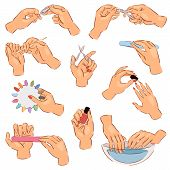 Manicure Vector Manicured Hands And Manicuring Fingernails With Nail File Or Scissors By Manicurist  poster