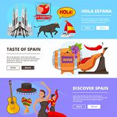 Horizontal Banners With Illustrations Of Cultural Objects Of Spain. Vector Of Culture Spain Banner,  poster