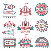Labels In Retro Style. Logos For Circus Entertainment. Carnival And Circus Entertainment, Vector Ill poster
