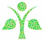 Ecology Man Mosaic Of Filled Circles In Variable Sizes And Ecological Green Color Tones. Vector Dots poster