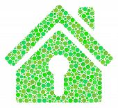 Home Keyhole Mosaic Of Dots In Different Sizes And Ecological Green Color Hues. Vector Round Dots Ar poster