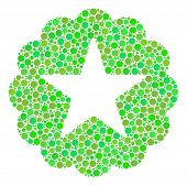 Quality Collage Of Circle Elements In Various Sizes And Green Color Tints. Vector Dots Are Organized poster