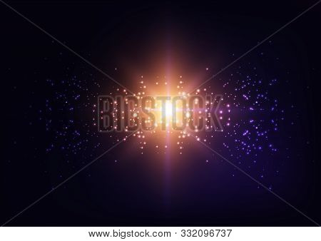 poster of Bright Starburst Light, Star Explosion, Galaxy Lights On Starry Sky Night Dark Purple Background.