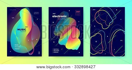 poster of Neon Music Flyer. Gradient Layout. Electronic Trance Festival. Multicolor 3d Flow Background. Trendy