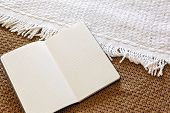 My Love Diary - The Daily Journal. Personal Diary On Knitted Woolen Textile. Keeping A Diary Or Jour poster