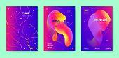 Pink Dj Flyer. Electronic Festival. Purple Futuristic Pattern. Neon 3d Fluid Design. Colorful Dj Lay poster