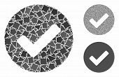 Yes Tick Mosaic Of Irregular Items In Different Sizes And Color Tints, Based On Yes Tick Icon. Vecto poster