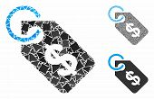 Price Tag Mosaic Of Rough Pieces In Various Sizes And Color Tones, Based On Price Tag Icon. Vector R poster