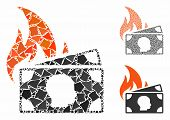 Banknotes Fire Disaster Composition Of Rugged Pieces In Different Sizes And Color Tinges, Based On B poster