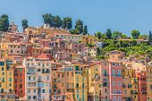 Menton France. 17 June 2019. A View Of The Colourful Buildings In Menton In France poster