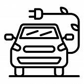 Electric Car With A Leaf Plug Icon. Outline Electric Car With A Leaf Plug Vector Icon For Web Design poster