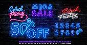 Black Friday Sale Neon Banner Vector. Black Friday Neon Sign. 50 0ff Night Neon Signboard, Night Bri poster