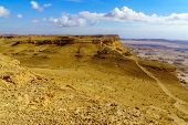 Landscape Of Makhtesh (crater) Ramon (from Mount Ardon), In The Negev Desert, Southern Israel. It Is poster