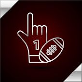Silver Line Number 1 One Fan Hand Glove With Finger Raised And American Football Ball Icon Isolated  poster