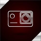 Silver Line Action Extreme Camera Icon Isolated On Dark Red Background. Video Camera Equipment For F poster