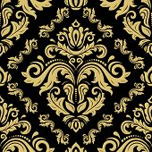 Classic Seamless Pattern. Damask Orient Ornament. Classic Vintage Background. Orient Golden Ornament poster