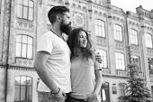 Spending Nice Time Together. Romantic Couple In Love On Urban Outdoor. Sensual Girlfriend And Boyfri poster