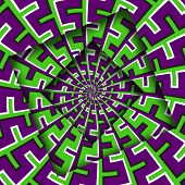 Abstract Turned Frames With A Rotating Purple Green Spiral Pattern. Optical Illusion Hypnotic Backgr poster