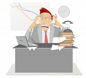 Upset And Tired Businessman In The Office Illustration. Upset Man With Open Mouth Sits At The Table  poster