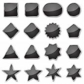 Set Of Black Glossy Banners Isolated. Vector Plates Of Different Shapes. Glossy Buttons With Metal C poster