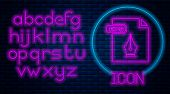 Glowing Neon Eps File Document. Download Eps Button Icon Isolated On Brick Wall Background. Eps File poster