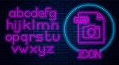 Glowing Neon Raw File Document. Download Raw Button Icon Isolated On Brick Wall Background. Raw File poster