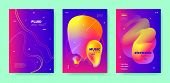 Blue Dj Layout. Electronic Sound. Purple Futuristic Banner. Pink Abstract Waves. Colorful Dj Flyer.  poster