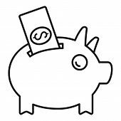 Piggy Bank Crowdfunding Icon. Outline Piggy Bank Crowdfunding Vector Icon For Web Design Isolated On poster