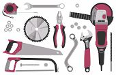 Collection Of Tools For Construction And Repair: Angle Grinder, Wood Hacksaw, Saw Blade, Adjustable  poster