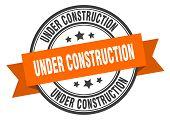 Under Construction Label. Under Construction Orange Band Sign poster