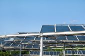 Solar Panels. A Solar Panel And Power Plant Installed On Top Of A Parking Lot. Photovoltaic Panels F poster