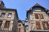 Historic Tenement Houses In Old Town Of Troyes, France poster