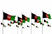 Pretty Any Occasion Flag 3d Illustration  - Afghanistan Isolated Flags Placed In Row With Soft Focus poster