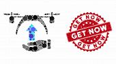 Mosaic Drone Takeoff And Corroded Stamp Seal With Get Now Caption. Mosaic Vector Is Formed With Dron poster