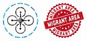 Mosaic Drone Flight And Rubber Stamp Seal With Migrant Area Caption. Mosaic Vector Is Designed With  poster