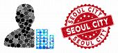 Mosaic City Architect And Distressed Stamp Seal With Seoul City Caption. Mosaic Vector Is Designed W poster