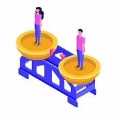 Gender Equality, Equal Pay And Opportunity Isometric Concept With Man And Woman On Scale. Vector Ill poster