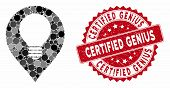 Mosaic Lamp Bulb Marker And Rubber Stamp Seal With Certified Genius Caption. Mosaic Vector Is Design poster