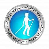 Glossy Blue Nordic Walking Button - 3d Illustration poster