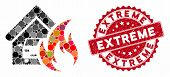 Mosaic Garage Fire Disaster And Grunge Stamp Seal With Extreme Phrase. Mosaic Vector Is Designed Wit poster