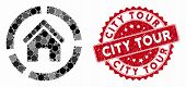 Mosaic Realty Diagram And Grunge Stamp Seal With City Tour Text. Mosaic Vector Is Formed With Realty poster