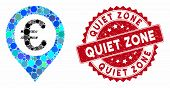Mosaic Euro Pushpin And Corroded Stamp Seal With Quiet Zone Text. Mosaic Vector Is Designed With Eur poster