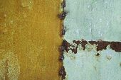Green Painted Metal Rusted Background. Metal Rust Texture. Erosion Metal. Scratched And Dirty Textur poster