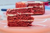 Red Velvet Cake Closeup. Chocolate Cake Dark Red, Bright Red Or Red-brown Color poster