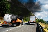 The Burning Truck.  Danger Of Explosion. Dangers That May Occur To Cars Carrying Fuel. Truck Carryin poster